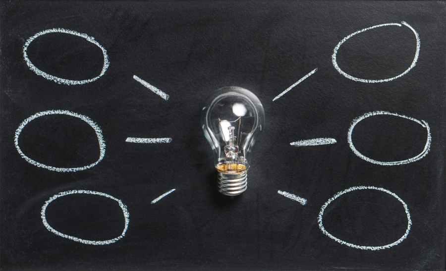 abstract blackboard bulb chalk